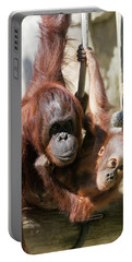 Mother And Baby Waiting For Lunch Portable Battery Charger