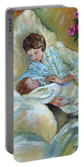 Mother And Child By May Villeneuve Portable Battery Charger by Susan Lafleur for May Villeneuve