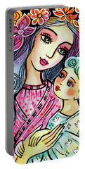 Portable Battery Charger featuring the painting Mother And Child In Blue by Eva Campbell