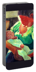 Portable Battery Charger featuring the painting Mother And Child In Red2 by Kathy Braud