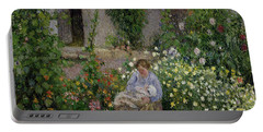 Mother And Child In The Flowers Portable Battery Charger