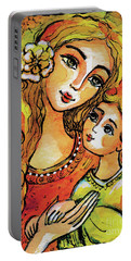 Portable Battery Charger featuring the painting Mother And Child In Yellow by Eva Campbell