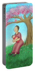 Mother And Child With Cherry Blossoms Portable Battery Charger