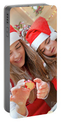 Mother And Daughter Doing Christmas Sweets Portable Battery Charger