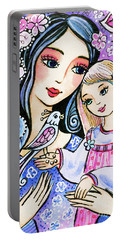 Portable Battery Charger featuring the painting Mother And Daughter In Blue by Eva Campbell