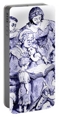 Portable Battery Charger featuring the painting Mother Goose Reading To Children by Marian Cates