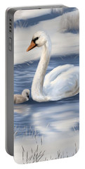 Portable Battery Charger featuring the painting Mother Love by Veronica Minozzi