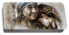 Portable Battery Charger featuring the painting Mother Teresa  by Gull G