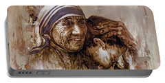 Portable Battery Charger featuring the painting Mother Teresa Of Calcutta  by Gull G