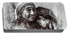 Portable Battery Charger featuring the painting Mother Teresa Of Calcutta Portrait  by Gull G