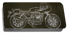 Moto Guzzi V7 Race First Edition Blueprint Blue Background,gift For Bikers Portable Battery Charger