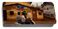 Motorbike Crossing Goa Times Newstand Portable Battery Charger