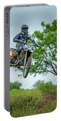 Portable Battery Charger featuring the photograph Motocross Aerial by David Morefield