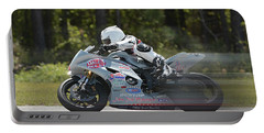 Motorcycle Race Portable Battery Charger by Alan Lenk