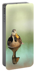 Mottled Duck Reflection Portable Battery Charger by Rosalie Scanlon
