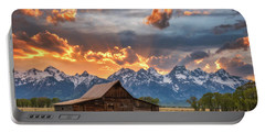 Moulton Barn Sunset Fire Portable Battery Charger by Darren White