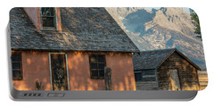 Portable Battery Charger featuring the photograph Moulton Homestead - Pink House At Morning Light by Colleen Coccia