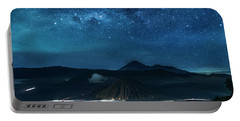 Mount Bromo Resting Under Million Stars Portable Battery Charger