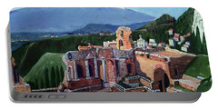 Mount Etna And Greek Theater In Taormina Sicily Portable Battery Charger