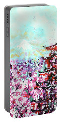 Portable Battery Charger featuring the painting Mount Fuji And The Chureito Pagoda In Spring by Zaira Dzhaubaeva