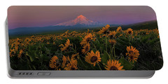 Mount Hood And Balsam Root Blooming In Spring Portable Battery Charger