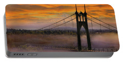 Mount Hood By St Johns Bridge During Sunrise Portable Battery Charger