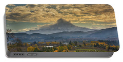 Mount Hood Over Farmland In Hood River In Fall Portable Battery Charger