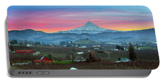 Mount Hood Over Hood River At Sunset Portable Battery Charger