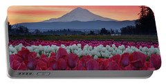 Mount Hood Sunrise With Tulips Portable Battery Charger