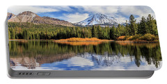 Portable Battery Charger featuring the photograph Mount Lassen Reflections Panorama by James Eddy