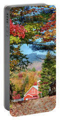 Portable Battery Charger featuring the photograph Mount Mansfield Seen Through Fall Foliage by Jeff Folger