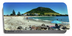 Portable Battery Charger featuring the photograph Mount Maunganui Beach 1 - Tauranga New Zealand by Selena Boron