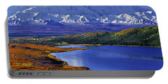 Mount Mckinley And Wonder Lake Campground In The Fall Portable Battery Charger