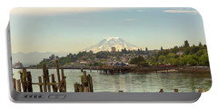 Mount Rainier From City Of Tacoma Washington Waterfront Portable Battery Charger