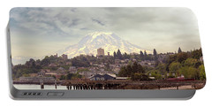 Mount Rainier Over City Of Tacoma Washington Portable Battery Charger