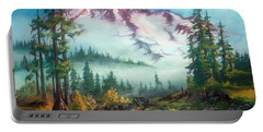 Portable Battery Charger featuring the painting Mount Rainier by Sherry Shipley