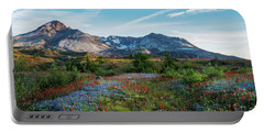 Mount St Helens Glorious Field Of Spring Wildflowers Portable Battery Charger by Mike Reid