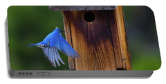 Mountain Bluebird Male Portable Battery Charger by John Roberts