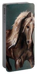 Portable Battery Charger featuring the painting Mountain Horse Fever by Barbie Batson