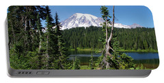 Mountain Lake And Mount Rainier Portable Battery Charger