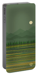 Portable Battery Charger featuring the digital art Mountain Lake Moon by Val Arie