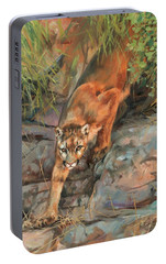 Portable Battery Charger featuring the painting Mountain Lion 2 by David Stribbling