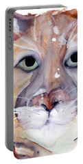 Portable Battery Charger featuring the painting Mountain Lion by Dawn Derman