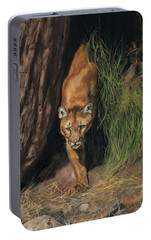 Portable Battery Charger featuring the painting Mountain Lion Emerging From Shadows by David Stribbling