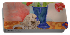 Portable Battery Charger featuring the painting Mountain Lion Skull Tea And Tulips by Beverley Harper Tinsley