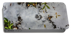 Mountain Lion Tracks In Snow Portable Battery Charger