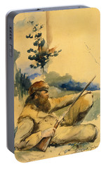 Portable Battery Charger featuring the drawing Mountain Man by Charles Schreyvogel