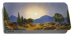 Mountain Meadow In Moonlight Portable Battery Charger by Frank Wilson