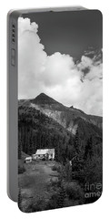 Mountain Mining Home In Black And White Portable Battery Charger