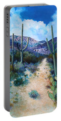 Portable Battery Charger featuring the painting Mountain Path Acrylic by M Diane Bonaparte
